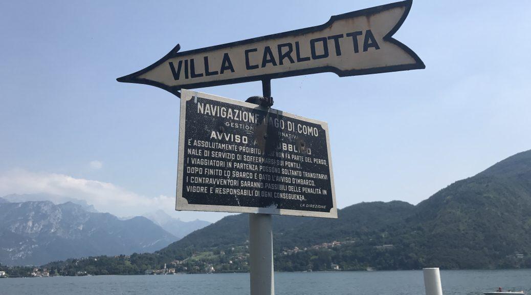 Image of a signpost to Villa Carlotta