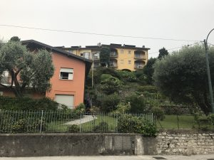 Best things to do in Bellagio, Italy - see the beautiful painted houses amidst the backdrop of lush foliage. Image of orange and yellow houses against dark green trees