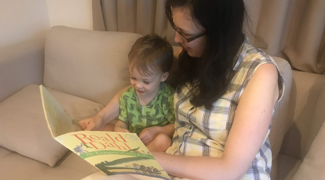 One of my favourite books for 2 year olds - reading the enormous crocodile to Jack, our 2 year old