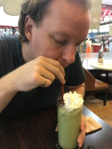 Matcha and Red bean frappé at the Black Canyon Coffee shop
