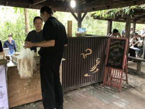 Free coffee at the centre of the Nana Jungle market