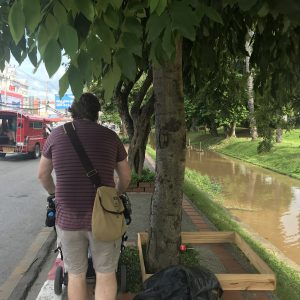 Living abroad - pavements in Chiang Mai are difficult to navigate with a double stroller