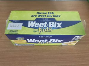 Weetabix box in Thailand - covered in plastic