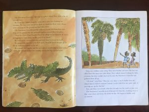 The Enormous Crocodile, abridged: Spread 6: Pretending to be a coconut tree