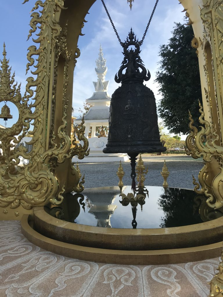 Bell inside the white temple compound