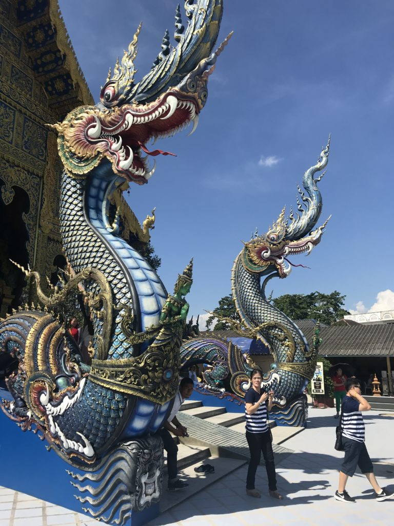 Blue temple Chinese dragons