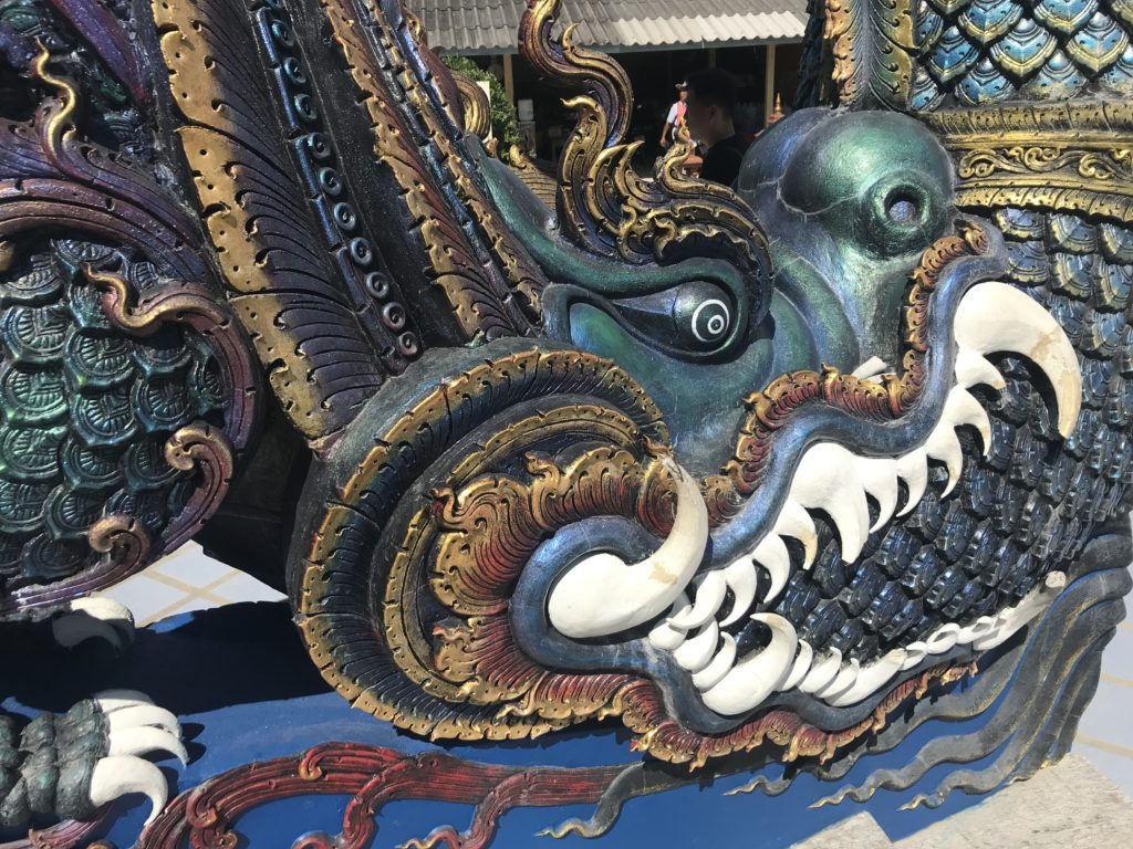 Detail on the blue temple dragons