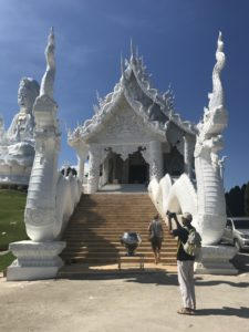 New white temple under construction near the Wat Huai Pla Kung