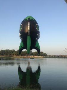 Hot air balloon shaped like a rocket