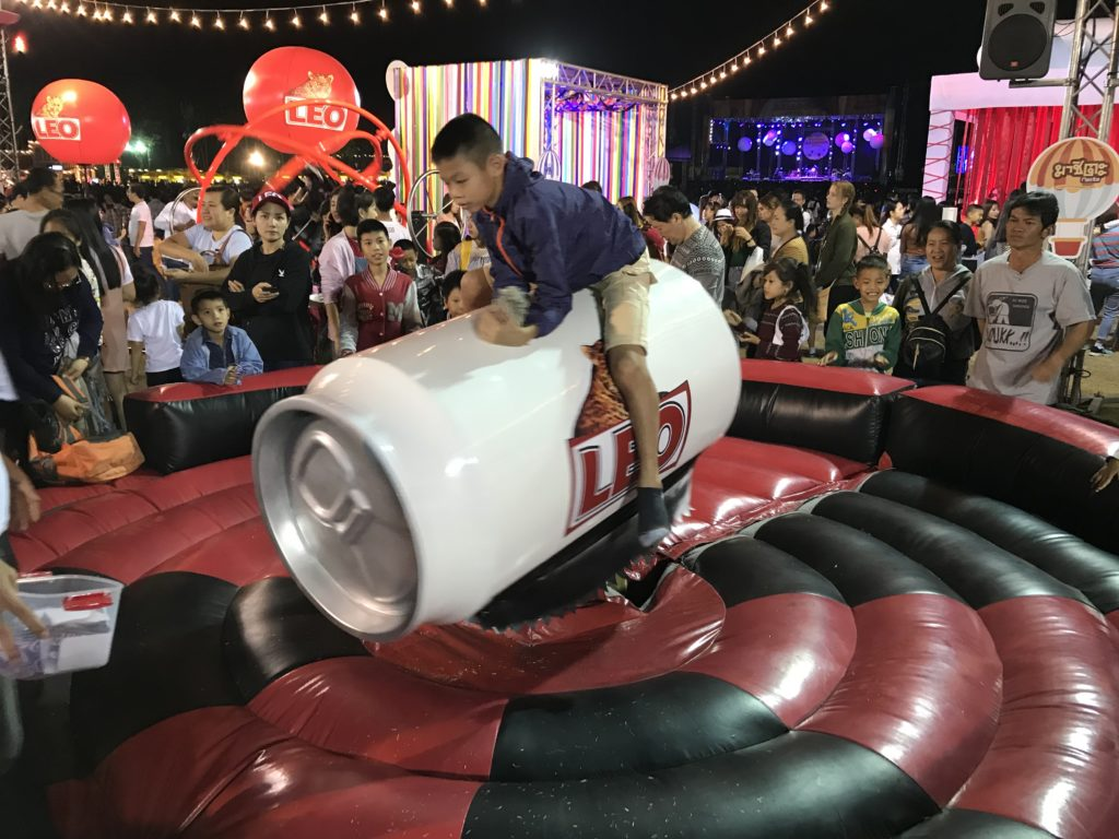 Leo beer can rodeo at the Chiang Rai balloon festival