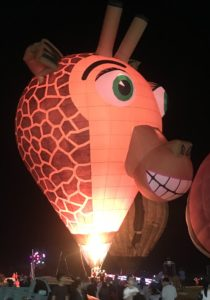 Creepy giraffe hot air balloon
