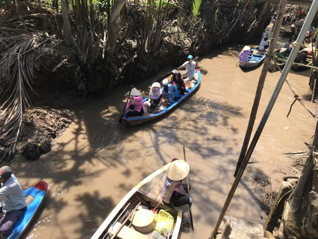Row boat on Mekong river
